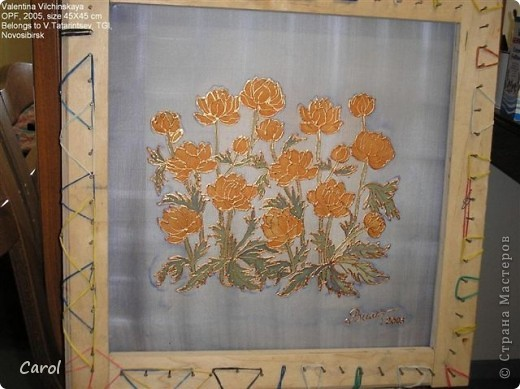 "Купальница. Размер 45х45 см, шелк 22, ""бронзовый"" резерв, краски для шелка ""Марабу."" На снимке батик на рабочей раме. фото 1"