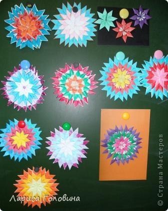 На уроке делали мозаику оригами. Это часть работ. фото 1