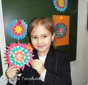 На уроке делали мозаику оригами. Это часть работ. фото 5