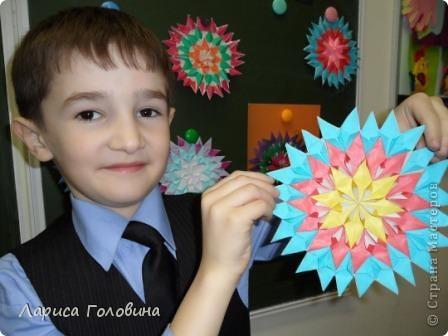 На уроке делали мозаику оригами. Это часть работ. фото 9