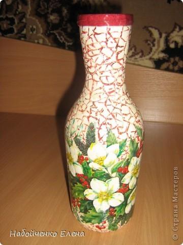Очень красивая осталась бутылочка, я решила её украсить, долго думала как и нашла в этом месте  http://stranamasterov.ru/node/7779?c=favorite фото 1