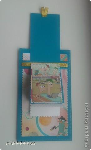 """Такую открытку мы с сыном сделали на Д.Р. Денису(друг сына.) Оба любители мультика """"Финес и Ферб"""" фото 2"""