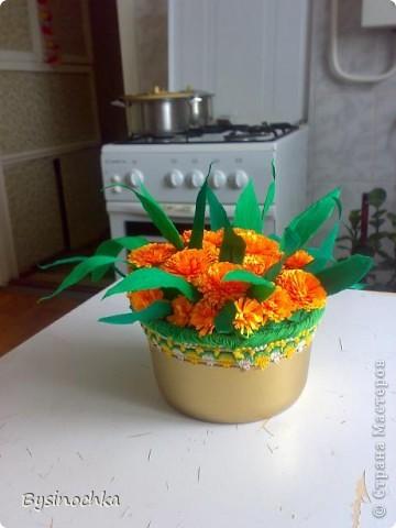 Сделала в подарок соседке на День Рождение поляночку цветов.Первый раз пробовала квиллинг-так понравилось крутить цветочки! фото 2