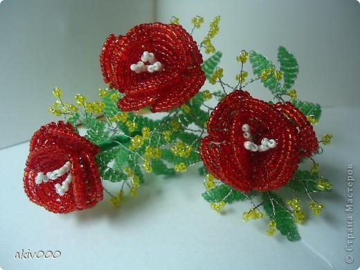 Розы из бисера + мини МК