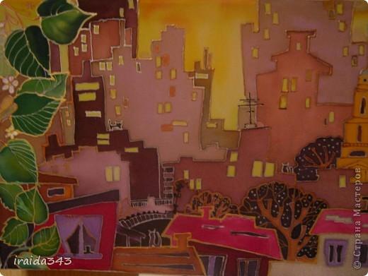 """Решили с девчонками на конкурс декоративно-прикладного искусства написать батик """"Мой город"""" фото 7"""