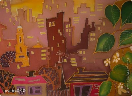 """Решили с девчонками на конкурс декоративно-прикладного искусства написать батик """"Мой город"""" фото 8"""