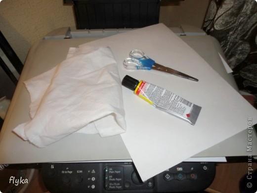 Видела где-то как девушка наносит с помощью принтера рисунок на ленту, вот мне и пришло в голову сделать полноценную ткань с понравившимся рисунком. Что нам понадобиться: 1. Лист бумаги формата А4 (плотная бумага! я делала на бумаге для акварели) 2. Ткань белая 3. Клей (лучше всего момент кристалл) 4. Ножницы (чтобы подравнять ткань по формату листа) 5. Ну и сам принтер)) фото 1