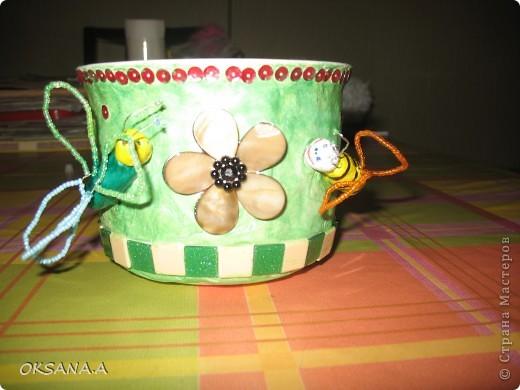 Такой цветочный горшочек я сделала на день рождение своей двоюродной сестренке. фото 1