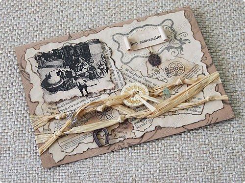 Vasil Dziashkouski hand made. На этой открытке пробовал приобретенные штампы, бижутерные мелочи, пуговицу, рафию.  Подкова - на счастье, смайлик - на радость, пуговица как запасная (вдруг потеряется), а ключик от сейфа, где деньги лежат :) фото 1