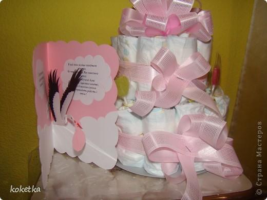 Открытка и тортик для новорожденной малышки. фото 16