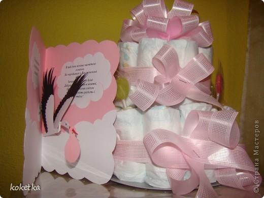 Открытка и тортик для новорожденной малышки. фото 1