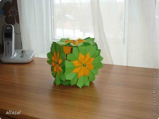 Сделала образцы для кружка.   Кусудамы (кроме одной) выполнены на основе классической кусудамы.  фото 2