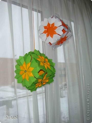 Сделала образцы для кружка.   Кусудамы (кроме одной) выполнены на основе классической кусудамы.  фото 18