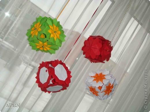 Сделала образцы для кружка.   Кусудамы (кроме одной) выполнены на основе классической кусудамы.  фото 1