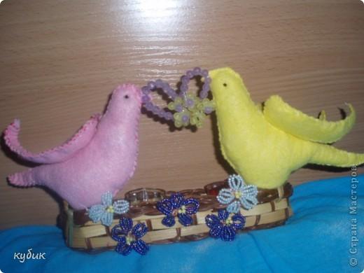 вот такую корзиночку с птичками я решила сделать для валентинок, использовала сердечко, что выставляла ранее фото 2