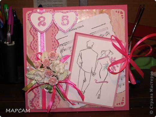 И снова, здравствуйте. Попросили сделать коробочку под диск родиетлям на юбилей свадьбы. Вот такая работау меня получилась. Напишу без комментариев, итак все понятно. фото 1