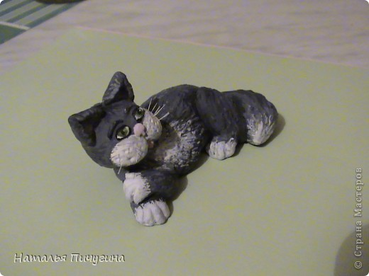 Этого котика я лепила для дочки моей подруги (она очень котов любит и я тоже). Поделку пока лаком не покрывала. фото 6