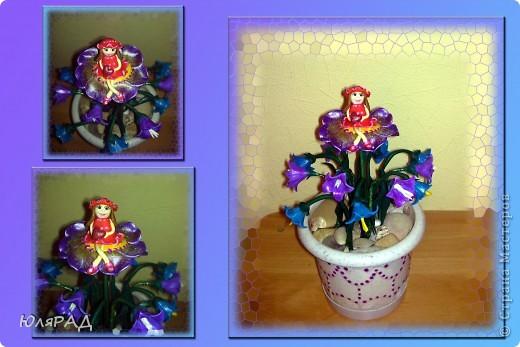 Сделала букетик колокольчиков, но чего-то не хватало............решила добавить Дюймовочку на цветочке. Простенько, но доченьке понравилось)))0 фото 1