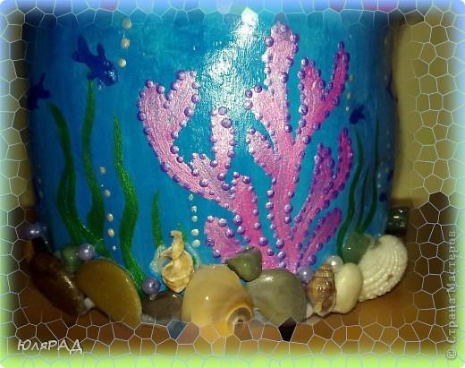 Решила сделать копилочку из солёного теста.......... идею подглядела у Ирины Мартиашвили . Оформила в виде ракушки и морского дна................... осталось только накопить на море)))))) фото 6