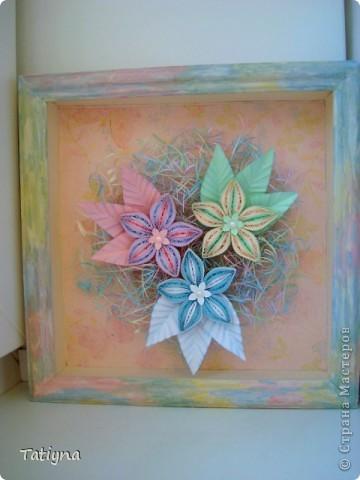 На этот раз решила сделать вот такую мини картину с разноцветными цветочками, работа еще в рамку не оформлена, хочу спросить у вас советы может что-то изменить, дополнить, может листья другой формы или цвета, вообщем приму ваши рекомендации фото 3