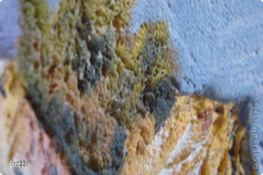 Показать как я делала эту работу не могу,а рассказать попробую.Необходимо:желание:));лист двп;шпаклёвка декаративная или минерал;не большие навыки работы со строительным материалом;кисти от самой маленькой для росписи ,до большой для побелки;маленькие шпателя и различные скребки;любые подручные инструменты(как и в лепки солёного теста)может даже ложки и вилки:)) фото 12