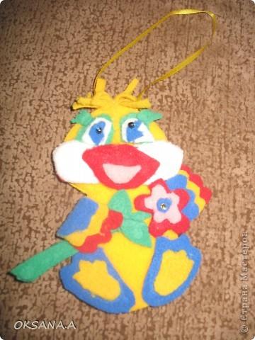 Утенок из детскоко набора для творчества. Сделала моя старшая доча Валерия.