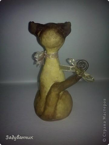 Сделала коллеге, любительнице сиамцев, на ДР кошку из соленого теста, результатом не довольна. Задумывалась киса совсем другой, но - уже что есть)) фото 3