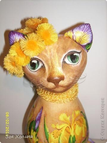 Конец зимы. За окном метель метет... Однако приближение весны уже витает над нами. В моем семействе кошек встречать весну будет еще одна очаровашка - Цветочная. Она немного грустная потому, что не знает как это - встречать весну, но веночек из первых весенних цветочков уже одела. фото 1