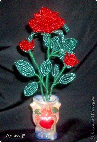 Ажурная роза на 8 Марта-9Мастер 5 белых: Теперь проволкой пройдитесь Бисероплетение.