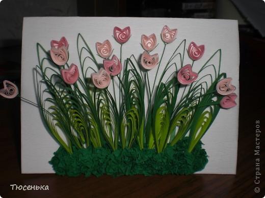 Моя вторая работа)) Сделала по мастер-классу Pastila(http://stranamasterov.ru/node/69222). Использовала проф. полоски 3мм. Это фото без вспышки. фото 2