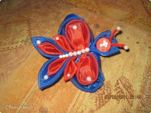 Бабочка из бантов (какие были под рукой) фото 1