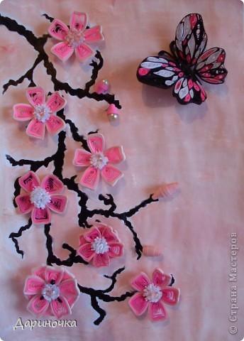 Ветка сакуры. Розовый рассвет. Нежность (квиллинг) фото 1