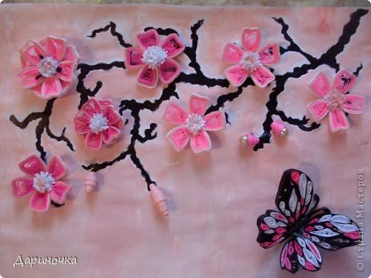 Ветка сакуры. Розовый рассвет. Нежность (квиллинг) фото 2