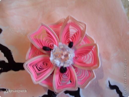Ветка сакуры. Розовый рассвет. Нежность (квиллинг) фото 3