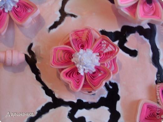 Ветка сакуры. Розовый рассвет. Нежность (квиллинг) фото 5