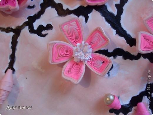Ветка сакуры. Розовый рассвет. Нежность (квиллинг) фото 4