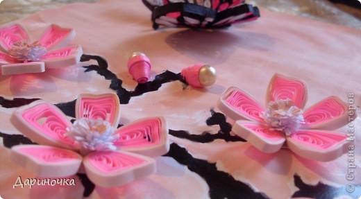 Ветка сакуры. Розовый рассвет. Нежность (квиллинг) фото 7