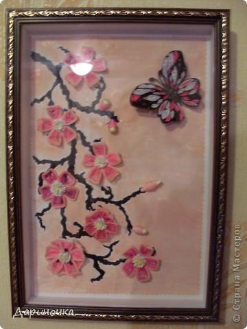 Ветка сакуры. Розовый рассвет. Нежность (квиллинг) фото 6
