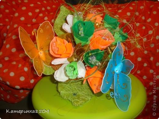 Сделала ручной букетик с конфетками, для девочки! фото 1