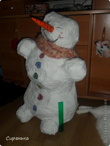 Снеговик из бумаги без