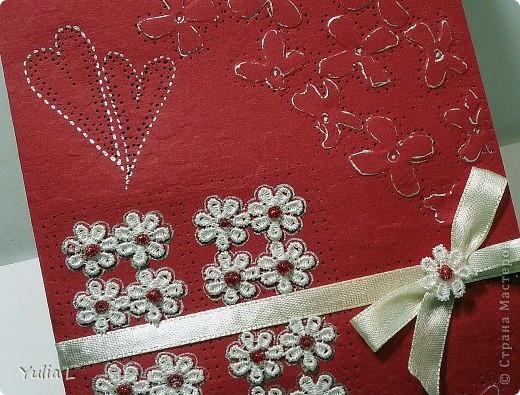 Еще одна открытка по скетчу от Лены http://stranamasterov.ru/node/134561. Материалы: бумага для пастели, тесьма, атласная лента, гель.   фото 2