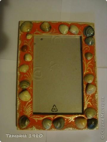 Рамка №1 Деревяная рамка украшенная ракушками, песком и красками. фото 1
