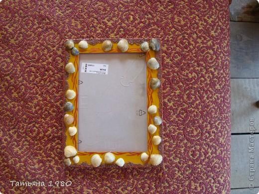 Рамка №1 Деревяная рамка украшенная ракушками, песком и красками. фото 2
