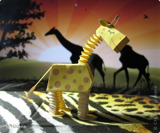 Слоненок и жираф. Выкройки распечатаны на цветном принтере, склеены клеем-карандашом. фото 3