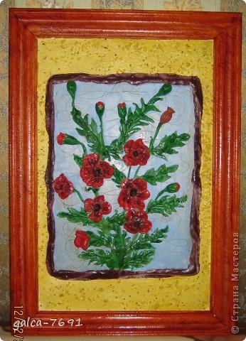 готовая картина (рамка для картины сделана из потолочного плинтуса и покрыта лаком)