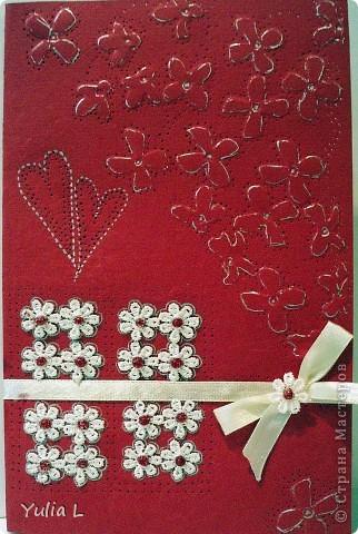 Еще одна открытка по скетчу от Лены http://stranamasterov.ru/node/134561. Материалы: бумага для пастели, тесьма, атласная лента, гель.   фото 3
