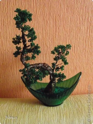Поделка изделие Бисероплетение Цветы деревья и одно насекомое из бисера - Бисер Бутылки стеклянные Проволока фото 4.