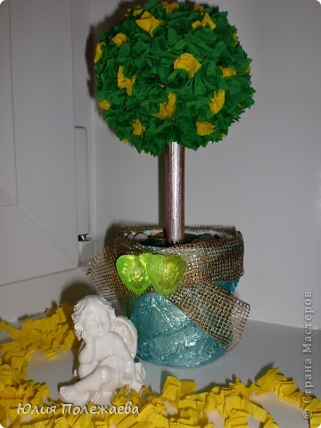 Вот и у меня деревце счастья появилось! Первенец в технике торцевания на пластилине.... фото 2