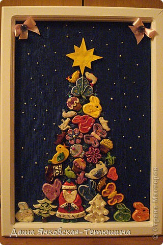 Новогоднее панно из игрушек(соленое тесто).