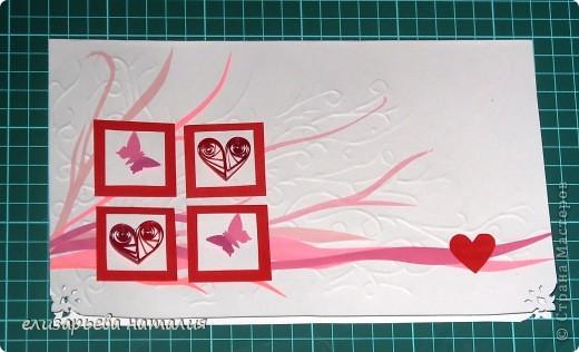 Фон для открытки выполнен частичным тиснением, сердечки - в технике квиллинг, бабочки и уголки открытки - с помощью фигурного дырокола, остальные элементы - аппликация из цветной бумаги для принтеров.